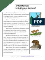 mammals - carnivores herbivores omnivores