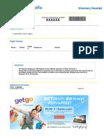 Cebu Pacific Sample Itinerary