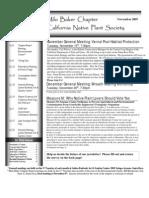 Milo Baker Chapter Newsletter, November 2005 ~ California Native Plant Society