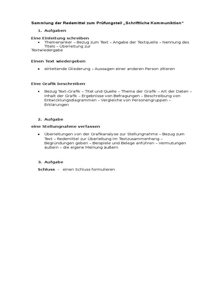 sammlung der redemittel zum prfungsteildocx - Stellungnahme Einleitung Beispiel