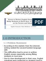 Errors in Written English Essays Among Malay Students