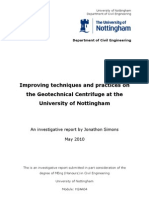 Improving Techniques and Practices on the Geotechnical Centrifuge. Including literature review