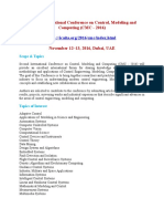 Second International Conference on Control, Modeling and Computing (CMC - 2016)