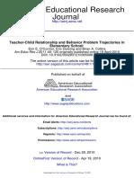 Teacher-Child Relationship and Behavior Problem Trajectories Elementary School 2011