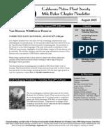 Milo Baker Chapter Newsletter, August 2005 ~ California Native Plant Society