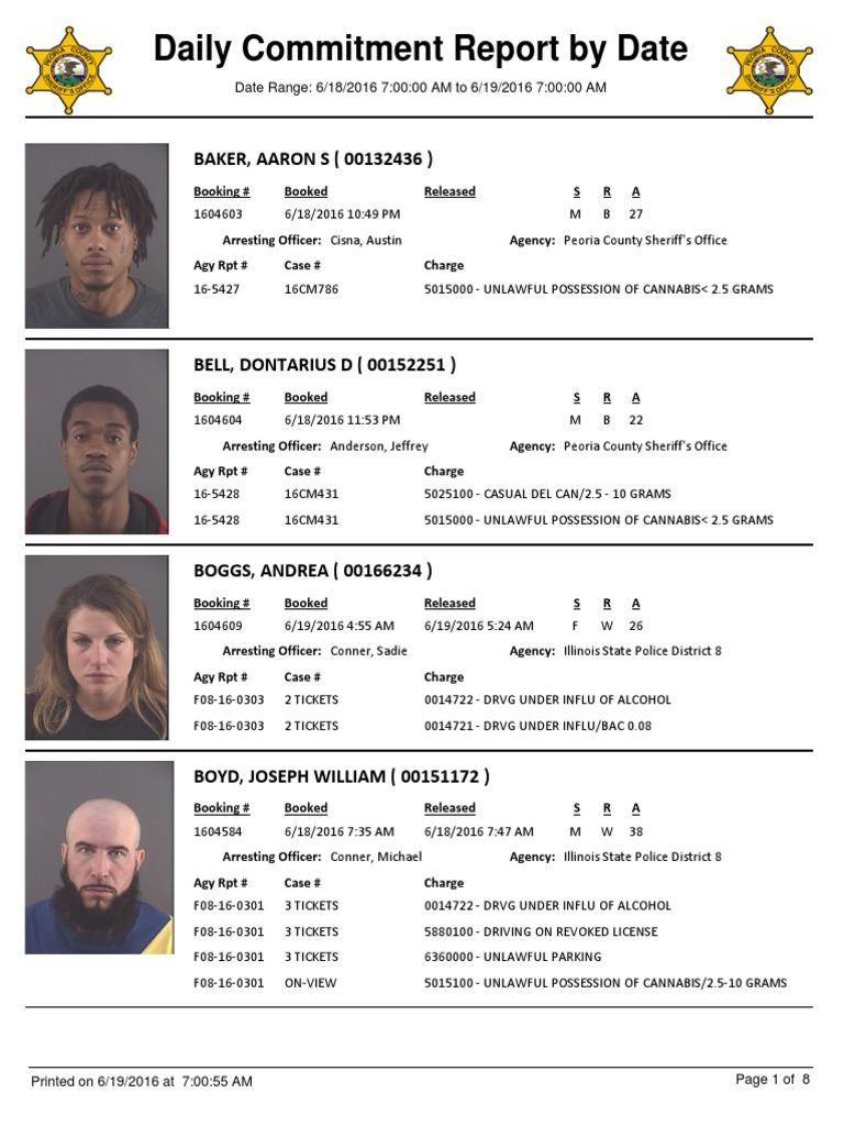 Peoria County Jail Booking Sheet 6 19 2016 Theft Criminology