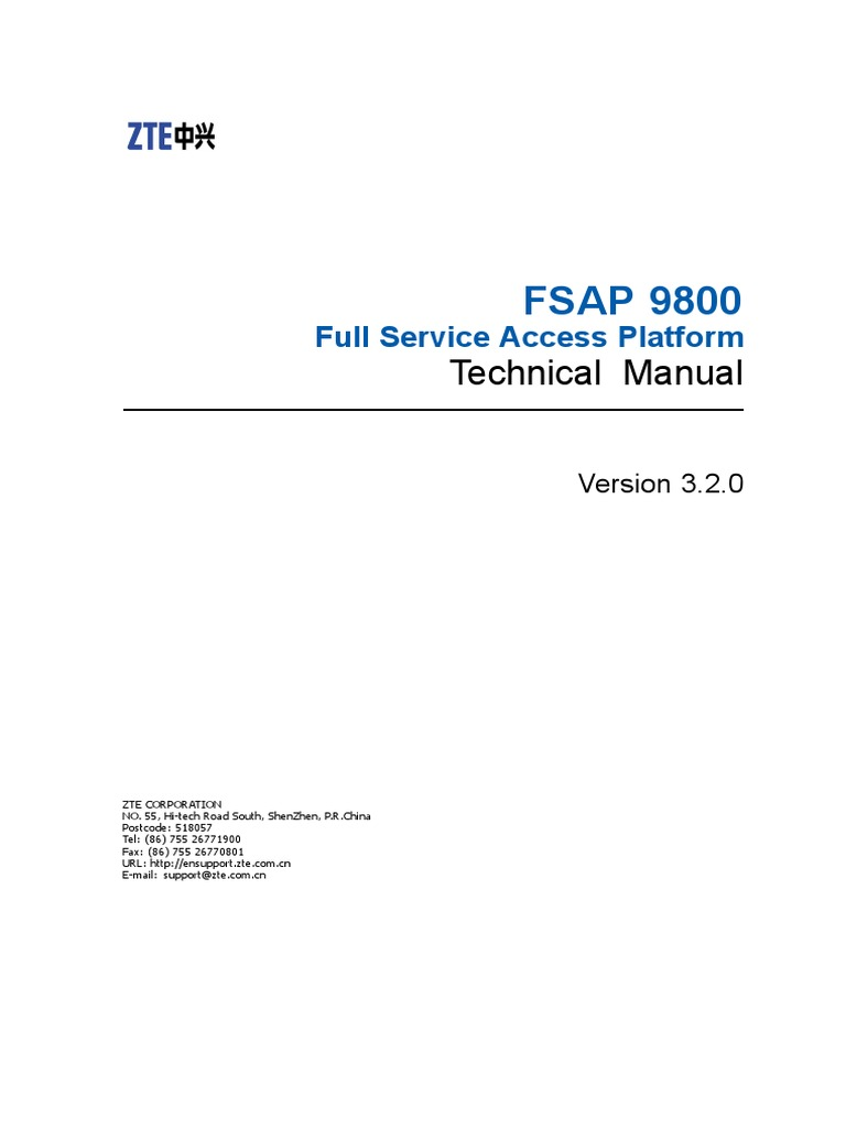 Sjzl20099302-FSAP 9800 (V3 2) Full Service Access Platform T