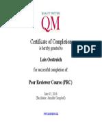 qm peer reviewer certificate