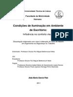 Dissertação em Condições de Iluminação em Ambiente de Escritórios