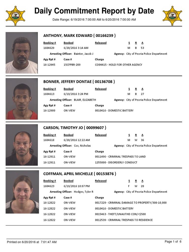 Peoria County Jail Booking Sheet 6 20 2016 Criminology Crime
