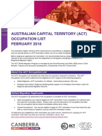 Australian Capital Territory Occupation List Feb 16