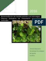 Biorremediación de Metales Pesados Con Microalgas.