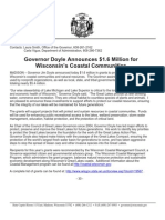 Governor Doyle Announces $1.6 Million for Wisconsin's Coastal Communities