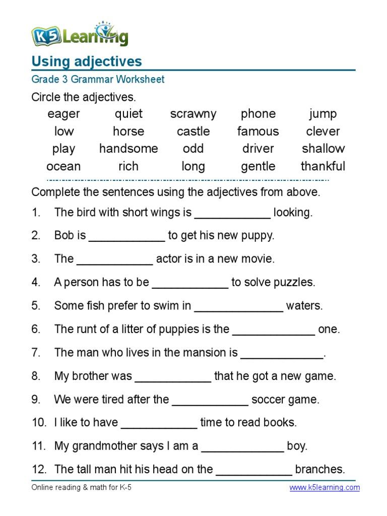 - Grammar Worksheet Grade 3 Adjectives Sentences 1 Syntax