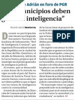 """18-06-16 """"Los municipios deben generar inteligencia"""""""
