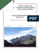 Lexico Estratigrafico de Bolivia (Geologia)