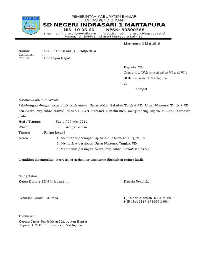 Contoh Surat Undangan Rapat Wali Murid Tk - Kumpulan Surat ...