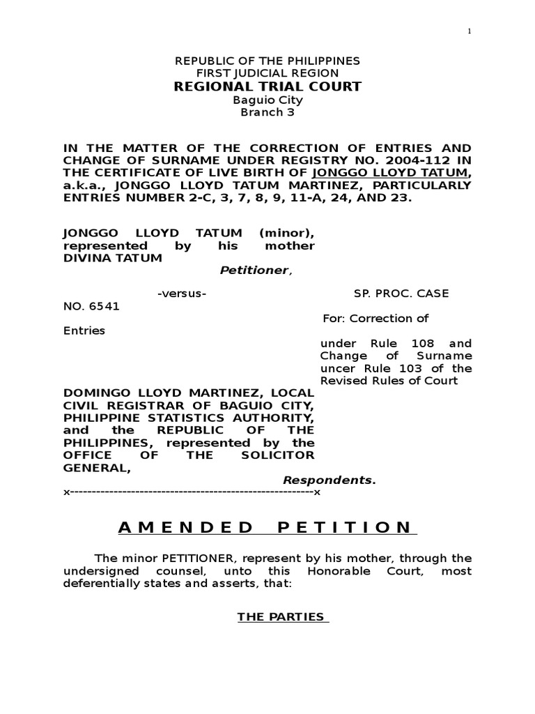 Sample amended petition rule 103 and 108 common law politics aiddatafo Image collections