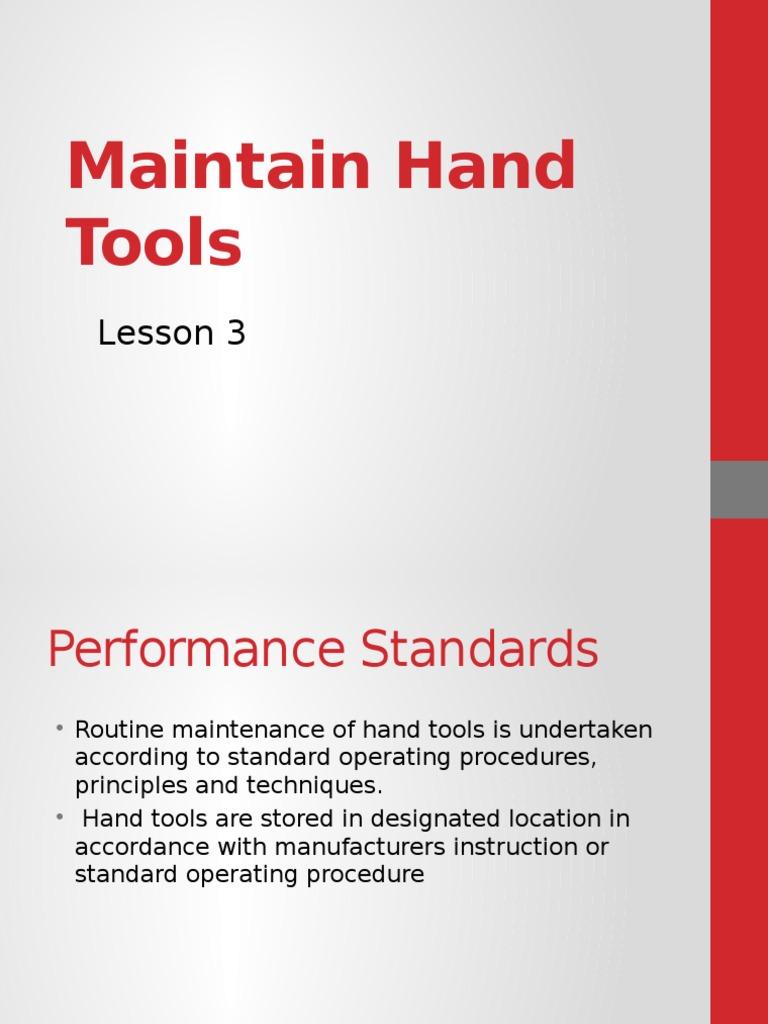 Maintenance of Hand Tools | Bearing (Mechanical) | Tools