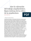 Ideas sobre la valoración del trabajo arquitectónico TEORIA DE LA ARQUITECTURA 1 FEB 2016.docx