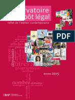 Rapport 2015 de l'Observatoire du dépôt légal de la Bibliothèque nationale de France