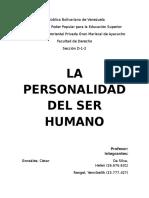 La Personalidad Del Ser Humano