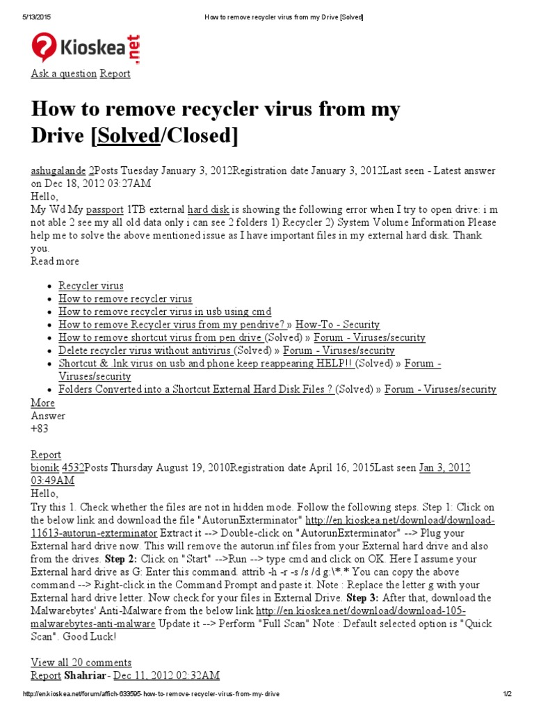 How to remove recycler