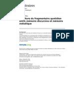 Ecriture Du Fragmentaire Quotidien Entre Memoire Discursive Et Memoire Metallique