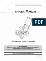 Operator's Manual Two Stage Snow Thrower M300 Series