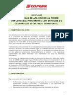 CURSO ESTRATEGIAS DE APLICACIÓN AL FONDO CONCURSABLE PROCOMPITE CON ENFOQUE DE DESARROLLO ECONOMICO TERRITORIAL