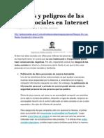 Riesgos y Peligros de Las Redes Sociales en Internet