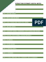 Simplified Construction Estimate Useful Notes