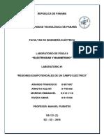 Física II - Laboratorio#1 - Regiones Equipotenciales de Un Campo Eléctrico