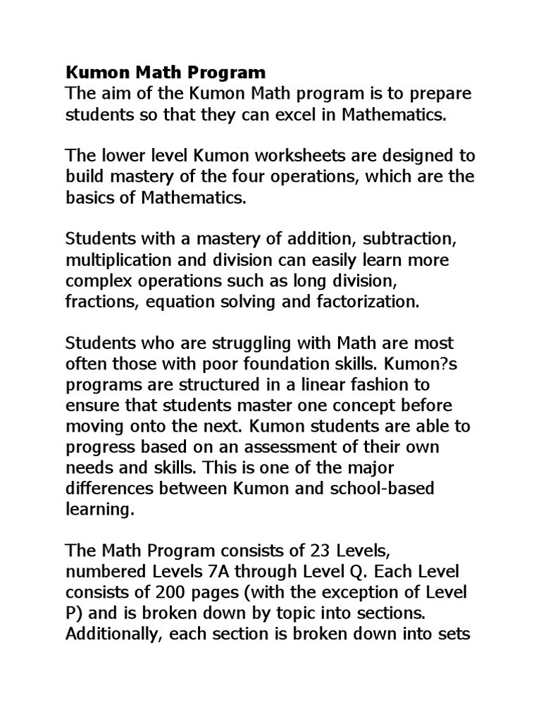 Kumon Programs Division Mathematics Mathematical Analysis