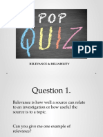 presentation pop quiz definitions and examples