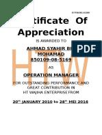 Certificate of Appreciation (Print)