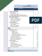 Revised Schedule VI Balance Sheet Forma