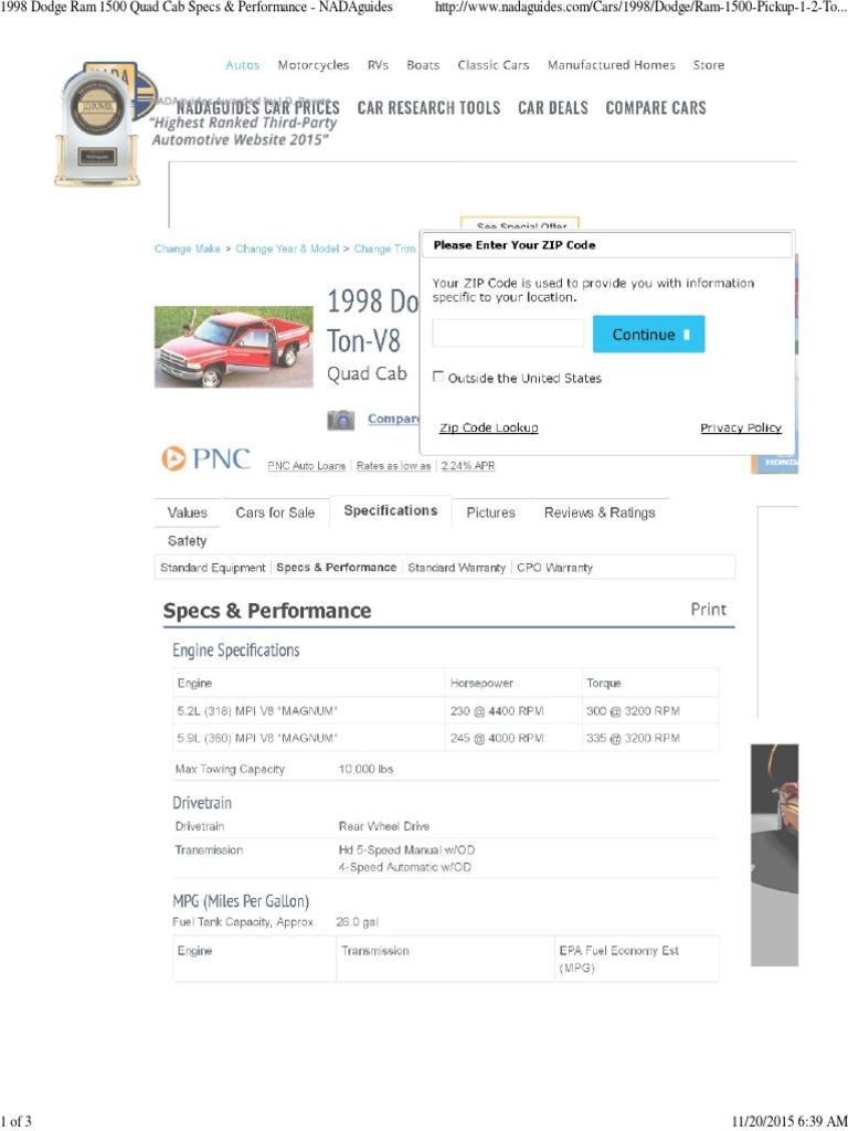 1998 Dodge Ram 1500 Quad Cab Specs & Performance - NADAguides   Fuel ...