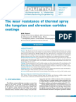 The Wear Resistance of Thermal Spray