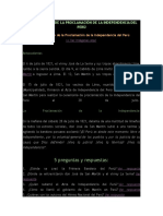 Resumen Corto de La Proclamación de La Independencia Del Perú