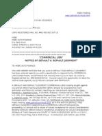Hsbc Commercial Lien Default and Default Judgment 1billion
