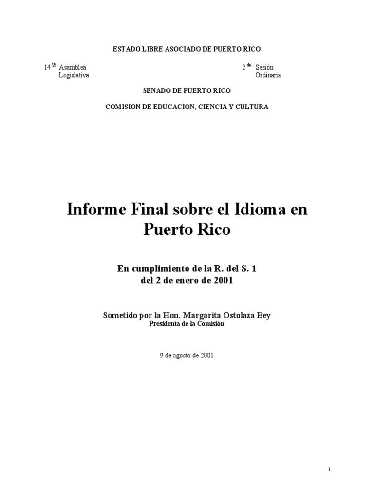 informe sobre el idoma senado pr.pdf | Puerto Rico | Lengua española