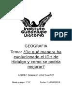 ¿De qué manera ha evolucionado el IDH de Hidalgo y como se podría mejorar