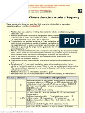 The most common Chinese characters pdf | Bracket | Languages