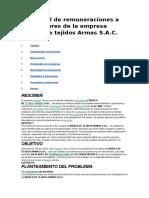 Bajo Nivel de Remuneraciones a Trabajadores de La Empresa Fabrica de Tejidos Armas S