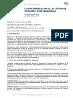 ACUERDO DE COMPLEMENTACIÓN AL ACUERDO DE COOPERACIÓN CON VENEZUELA