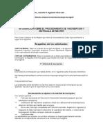 Informacion Sobre El Procedimiento de Inscripcion y Matricula de Master