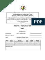 MEMORIA DE COSTOS RV01-PAVIMENTACIÓN VILLARICA