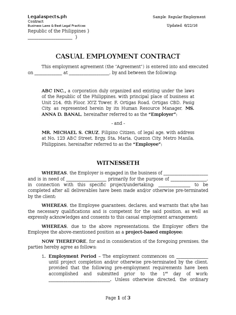 Sample   Project Based Employment Contract   Legalaspects.ph | United  States Labor Law | Working Time