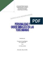 Personalidad y Orden Simbólico en Toxicomanías